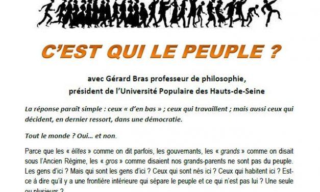 C'est qui le peuple ? Conférence et débat animés par Gérard Bras à Luc-en-Diois
