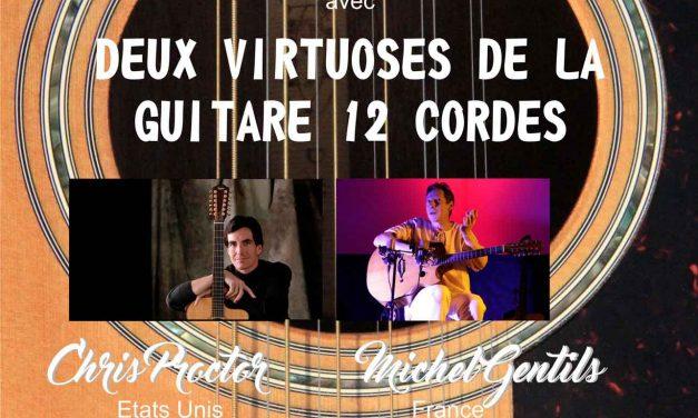 Michel Gentils et Chris Proctor en concert à Menglon, 2 Guitaristes, 2 Concerts, 24 Cordes