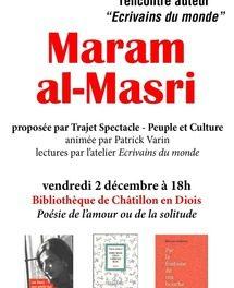 «Ecrivains du Monde» accueille Maram Al Masri