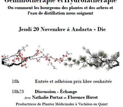 Conférence sur Gemmothérapie et l'Hydrolathérapie à Andarta