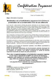 Mobilisation de la Confédération Paysanne de la Drôme mardi 23 octobre !!