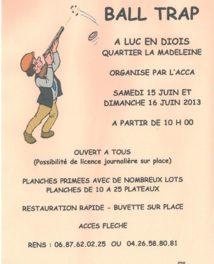 Ball Trap à Luc en Diois le 15/16 juin !