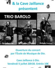 Jazz au village : Crest Jazz Vocal & Jaillance présente « Trio Barolo »