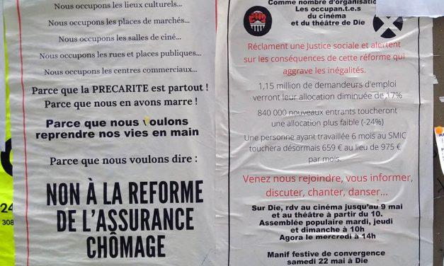 22 mai, Manifestation contre la réforme de l'assurance chômage à Die